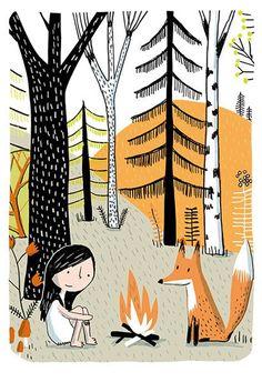 Sur ton mur - Art print - Petite fille au renard - Sur ton mur - 1