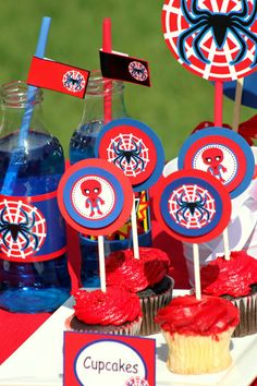 SPIDERMAN Party - CUPCAKE Toppers - Spiderman Birthday - Boy Birthday Party - Boys - Super Hero - Superheroes- Printables - INSTANT Download on Etsy, $2.23 CAD