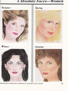 To help you understand the 16 seasonal types I have copied the images from Bernice Kentners' book, Color Me A Season. This should give you a visual to the typical looks for the 16 seasons. Keep in mind that skin and hair can be lighter or darker in all of the seasons. Eye color can be different from the examples as well. Your certified color consultant will determine your season based on many tests.