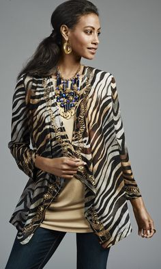 Into the wild. Chico's Embellished Zebra Jacket.