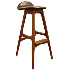 Wood & Black Leather Bar Stools by Erik Buck