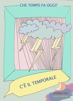 Che tempo fa oggi?  C'è il temporale. #italianol2 #italianols #materialedidattico #flashcards #grammateca