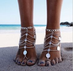 This is a magical way to adorn your bare feet. You will receive two anklets... a pair to adorn your feet. Silver zink alloy 23cm Plus 5cm extension chain. Stun