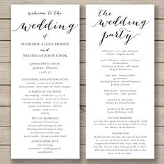 This wedding program template is available for instant download as a .docx file for you to edit with your own details in MS Word. Program is 4x9 after trimming.  It is shown in the first listing image printed on kraft card for a rustic look. ***The background of the design is transparent - print on kraft for a kraft background, print on white for a white background etc.***  HOW IT WORKS: - Purchase your files and download instantly -Install the suggested free font (link provided) - Use MS…