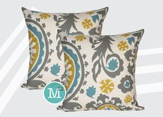 "Two Summerland Yellow, Blue, Grey Suzani Pillow Covers 16"" x 16"", 14"" x 14"", Lumbar - Premier Prints on Etsy, $26.00"