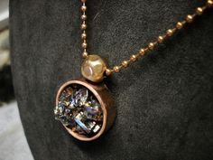"""Round Bismuth Crystal Pendant with 24""""  Copper Ball Chain. by NAKOBI on Etsy"""