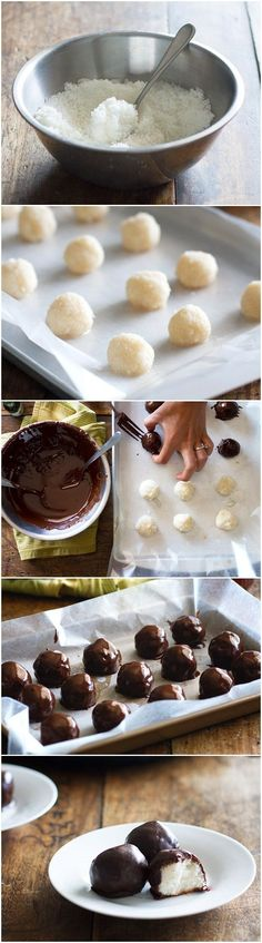 Diet Snacks Paleo Diet for Beginners? The Paleo Cookbook: more then 300 Paleo Recipes to try and learn! - These dark chocolate coconut bites look like cute truffles and require just four ingredients. 130 calories of natural sweetness. Paleo Dessert, Vegan Desserts, Just Desserts, Dessert Recipes, Dinner Dessert, Dinner Recipes, Yummy Treats, Yummy Food, Tasty