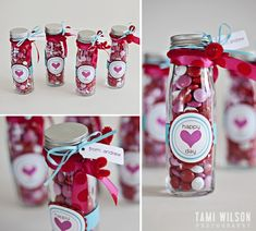 adorable glass bottle filled with valentine candies for teacher gifts Homemade Valentines, Valentines Day Treats, Valentine Day Love, Valentine Day Crafts, Holiday Crafts, Holiday Fun, Printable Valentine, Valentines Day Gifts For Friends, Teacher Gifts