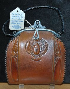 Egyptian Revival Scarab Tooled Leather Purse Mint Unused with Original Tag, art deco, 1920s