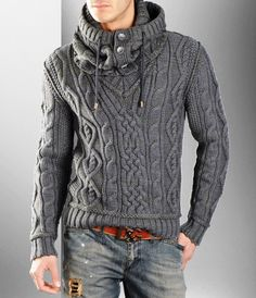 0 (507x590, 97Kb).... from a Russian site and says this is a Dolce Gabbana sweater design.... so sadly inspiration only.  However, I can see that it is a buttoned cowl, separate to the V neck sweater, and made to match with the bask doubled to roll back and take the tie cord... but the whole look is rugged and handsome... superb.... will try to figure the schematics to get the shaping correct.  All our boys would look fab in this!