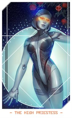 New card for Mass Effect tarot. Experimenting with adding a hint to some traditional elements.. And hey, you didn't think EDI would be the High Priestess, did you?
