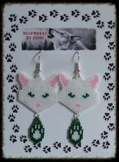 Native American Beaded Cat w/ Paw Print Earrings