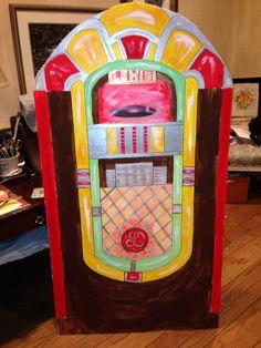 "Jukebox. Freehand design. 1"" thick foam board, acrylic paint. 4 1/2 feet high."