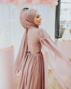 Image may contain: 1 person, standing Hijab Gown, Hijab Evening Dress, Hijab Dress Party, Hijab Style Dress, Dress Outfits, Muslimah Wedding Dress, Muslim Wedding Dresses, Muslim Dress, Abaya Fashion