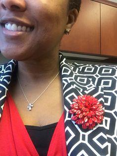Red puff vintage flower brooch