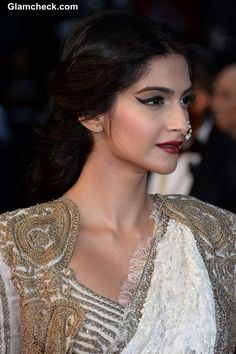Sonam Kapoor Hairstyle & Makeup at 2013 Cannes Film Festival Opening Ceremony