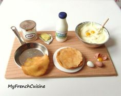 France - Crepes preparation board Handmade miniature by MyFrenchCuisine