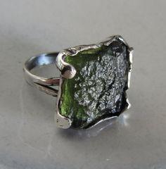 Moldavite Silver ring - Handmade Gemstone ring - Rough stone ring - Size 8 on Etsy, $80.00