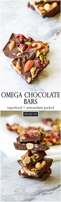 These Omega Chocolate Bars are the perfect healthy chocolate pick me up. Loaded with Omega-3 nutrients and tons of antioxidants this is a candy bar you can feel good about eating and enjoying.