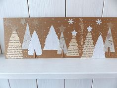 Christmas card using book pages Christmas Gift Tags, Christmas Crafts, Xmas, Used Books, Book Pages, Book Art, Art Projects, Recycling, Crafting