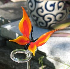 Butterfly  orchid rod  glass animal figurine by CaraMagicGlass, $35.00