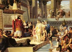 <b>King Solomon</b> receives the Queen from Sheba