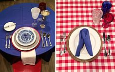 Fourth of July place settings.left is formal and right is casual! Place Settings, Fourth Of July, Couture, Table Decorations, Formal, Casual, Summer, Home Decor, Preppy
