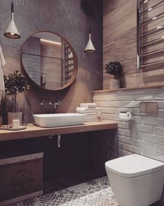 If you want to have an industrial bathroom the key factor is to take the edge of the harsh industrial look. Bathroom design Creating A Convenient Industrial Bathroom - House Topics Best Bathroom Designs, Bathroom Interior Design, Interior Modern, Rustic Bathroom Designs, Diy Bathroom, Bathroom Goals, Bathroom Ideas, Bathroom Colors, Bathroom Cabinets
