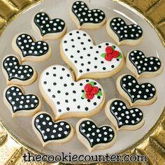 Classy polka dot cookies. Love 'em! #stayclassy #thecookiecounter #valentinecookies