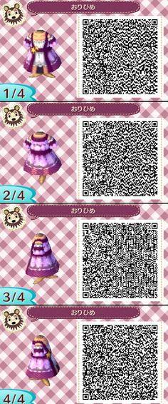 Animal Crossing New Leaf QR codes ありひめ purple dress