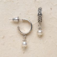 """Bali Scroll Pearl Drop Post Earrings  Scrolled design accents sterling silver hoops; drop pearls complete the sophisticated look. 1"""" long."""
