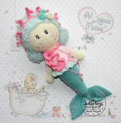 Marina mermaid crochet pattern by Julio Toys https://www.etsy.com/listing/288054063/marina-mermaid-pdf-pattern?ref=shop_home_active_2