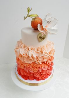 peach + coral ombre (gradient) petal cake; by The Cake Whisperer