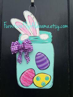 Easter wooden door hanger,easter bunny mason jar door hanger,easter wreath,door hanger,popular easter door decor,ready to ship by Furnitureflipalabama on Etsy