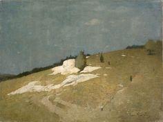 """""""Foothills / Landscape,"""" Emil Carlsen, oil on canvas, 12 x 16"""", Heckscher Art Museum."""