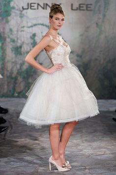 Short wedding dress from Jenny Lee, Fall 2013 debating on going short to party for when the oldies go to sleep