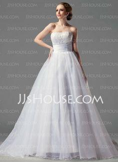 Wedding Dresses - $221.99 - Ball-Gown Strapless Chapel Train Organza Satin Wedding Dresses With Ruffle Lace (002004149) http://jjshouse.com/Ball-gown-Strapless-Chapel-Train-Organza-Satin-Wedding-Dresses-With-Ruffle-Lace-002004149-g4149