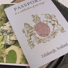 Scotland Crest Passport Wedding Invitation (Edinburgh, Scotland)