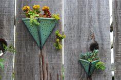 Geometric Triangle Wall Planter with Dots Design - Small Wall Pocket - Modern Home Decor - Aqua Mist - Ready to Ship