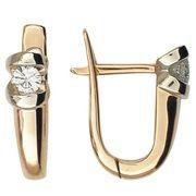 Серьги с бриллиантами из комбинированного золота