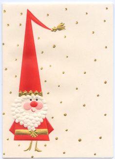 Mod Santa Claus Vintage Hallmark Mid Century Modern Christmas Card