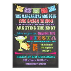 Chalkboard Mexican Fiesta Engagement Party Card ---- this is me and Joseph in an invitation! haha