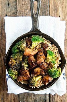 Balsamic Chicken and Broccoli over Farro recipe on dineanddish.net