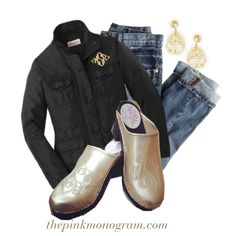"""""""Monogrammed Clogs and Jackets"""" by thepinkmonogram on Polyvore  www.thepinkmonogram.com"""