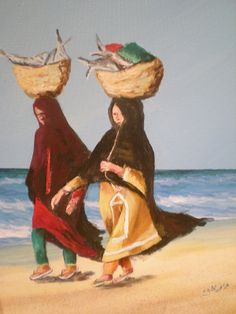 Old women in Oman are used to carrying food baskets on their heads when shopping in the open market.