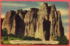 INSCRIPTION ROCK, EL MORO NATIONAL MONUMENT, NEAR GALLUP, NEW MEXICO, LINEN — Ancient Tony Vintage PostCards
