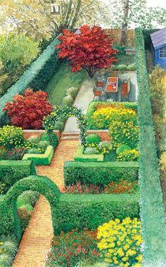 Dieser Stadtgarten im klassischen Stil verbreitet englische Stimmung
