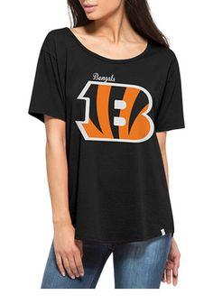 '47 Cincinnati Bengals Womens Boyfriend Black Scoop T-Shirt