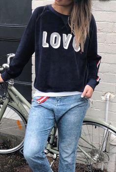 Hammill + Co Winter Love Velour Sweatshirt Navy   The Rock Box Store