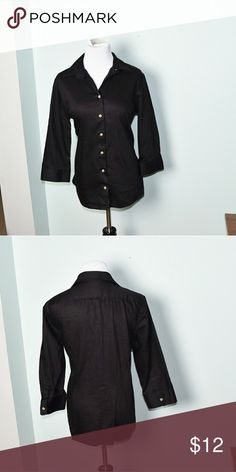 Adorable Black Button Down Shirt In excellent condition! Very comfortable, stretchy, and flattering! Buy 3 items and get 1 free plus 15% off your purchase total! Tops Button Down Shirts